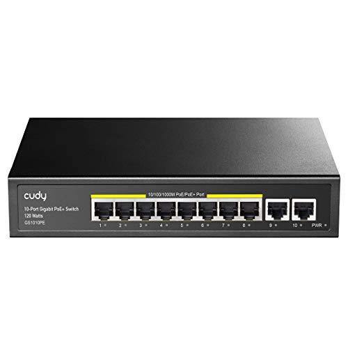 Cudy 10 Port Gigabit PoE+ Switch 120W, 8 * 10/100/1000Mbps PoE/PoE + Ports, 2 Gigabit-Uplink-Ports, 802.3af / at Standard, Lüfterloses internes Netzteil, GS1010PE