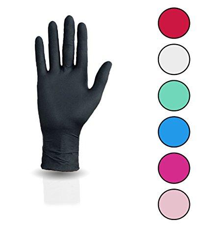 100 Stück Nitril Einweghandschuhe, Einmalhandschuhe puderfreie und unsterile Kochhandschuhe Tätowierhandschuhe Tattoo Handschuhe, (M,schwarz)