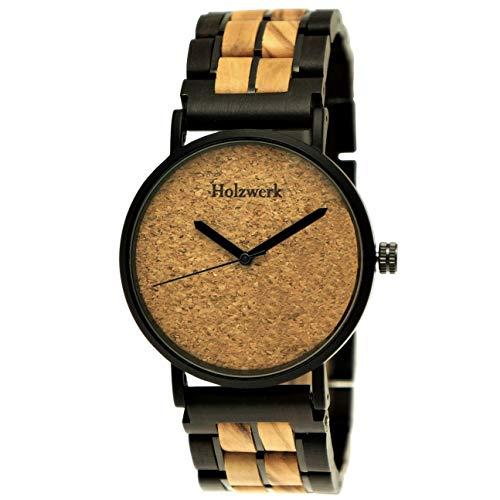 Handgemaakte platte houten fabriek Germany® designer unisex herenhorloge dameshorloge eco kurk natuur houten klok armband-horloge analoog klassiek kwartshorloge bruin zwart