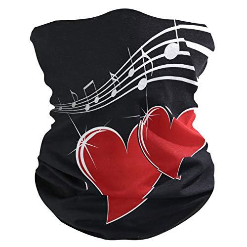 DOSHINE - Bandana para la cara, diseño de corazón, color rojo, pasamontañas multifuncional, pañuelo mágico para cuello, calentadores para ciclismo, polvo, deportes al aire libre