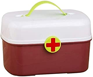 AINIYF Storage Box Small Medicine Box Lock Box Portable Household Spare Medicine First Aid Box Storage Medical Box (Color : Brown)
