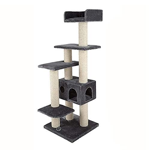 Marco de madera maciza para trepar para gatos, nido para gatos de cinco capas, árbol para gatos, poste de agarre para gatos, marco para trepar para gatos, cuerda de sisal Grindi (árbol para gatos)