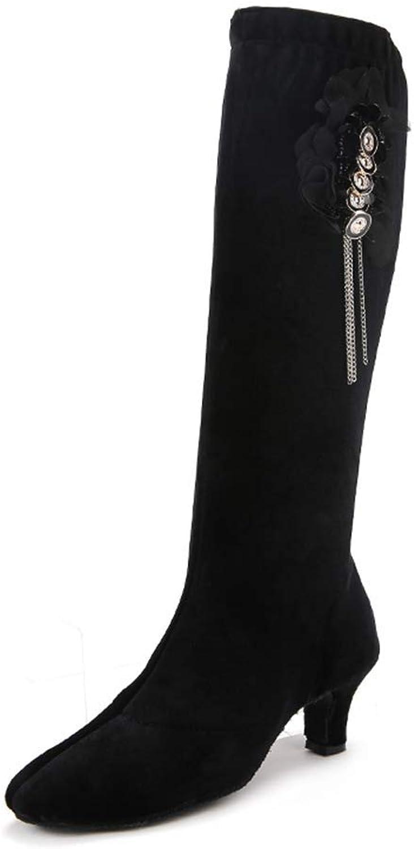 Myloo Women's Fashion Low Heel Knee High Boots Performance Latin Dance shoes