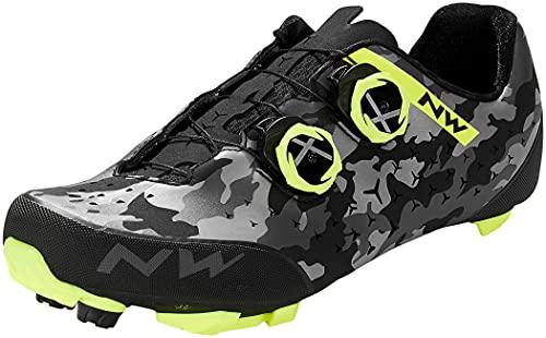 Northwave Rebel 2 MTB Camo - Zapatillas para bicicleta de montaña (39,5), color negro, gris y amarillo