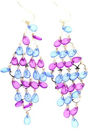 Lizzyoftheflowers - Boho stijl 8 laag roze en blauwe drop kroonluchter oorbellen