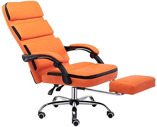 Office Chairs High-Back Pu Leather Gaming Chair with Footrest Reclining Ergonomic Office Chair-Orange
