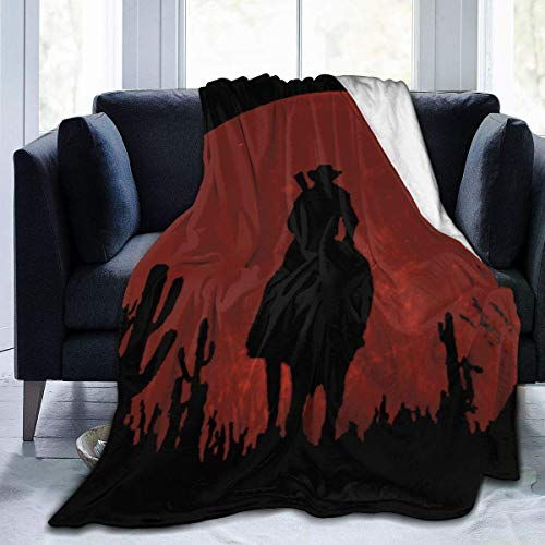 Zansmart Fashion Red-Dead-Redemption Fleece Throw Blanket Lightweight Ultra-Soft Bed Blanket Microfiber Perfect for Sofa Couch and Living Room for All Season 80'X60' Large