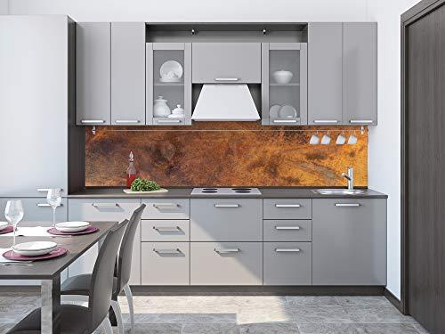DIMEX LINE Paraschizzi Auto-Adesiva per la Cucina Rame GRAFFIATO 260 x 60 cm   Resistente all'Acqua   QUALITA' Premium