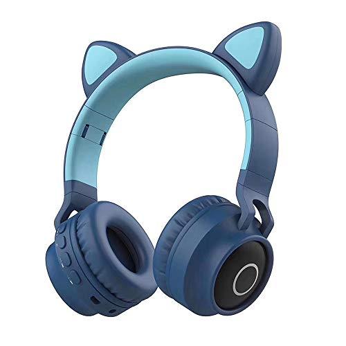 Meisjes Bluetooth Headset Kattenoren LED-Verlichting Game Headset In-Ear Microfoon HIFI Muziek Ruisonderdrukking Headset Kinderen Cadeau,Blue