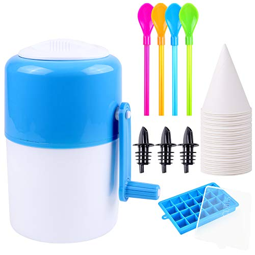 Ice Shaver Ice Machine Snow Cone Machine Portable Manual Hand Crank Ice Crusher and Shaved Ice Machine with Ice Cube Trays, 30 PCS Snow Cone Cups, 4 Spoon-Straws and 3 Bottle Pourers