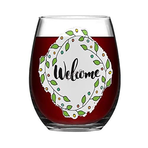 YY-one Copa de vino grabada personalizada sin tallo, 445 ml, con letras de bienvenida, copas de vino, bodas, fiestas, cumpleaños, regalos para papá, hombres, amigos, padres