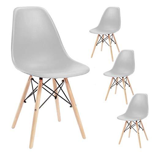 SPRINGOS Milano Skandinavischer Stuhl | Set 4 Stühle | Retro Design | 83x46x50 cm | für Wohnzimmer, Esszimmer, Küche, Büro | Grau