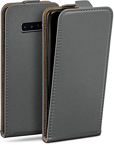 moex Flip Hülle für Samsung Galaxy S10 Hülle klappbar, 360 Grad R&um Komplett-Schutz, Klapphülle aus Vegan Leder, Handytasche mit vertikaler Klappe, magnetisch - Grau