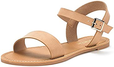 DREAM PAIRS Women's Hoboo-New Cute Open Toes One Band Ankle Strap Flexible Summer Flat Sandals Nude Size 7