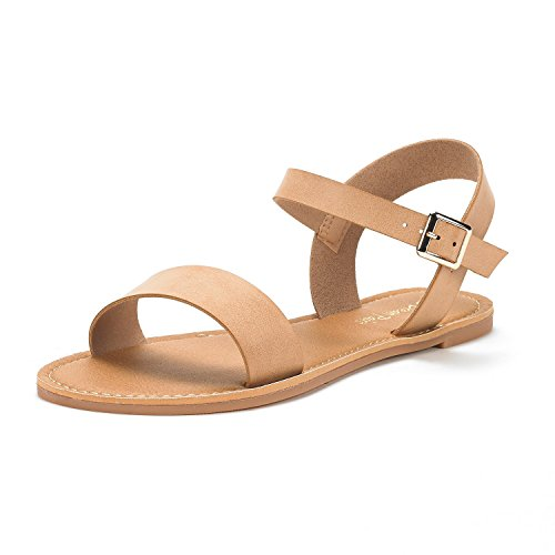 DREAM PAIRS Women s Hoboo-New Cute Open Toes One Band Ankle Strap Flexible Summer Flat Sandals Nude Size 7