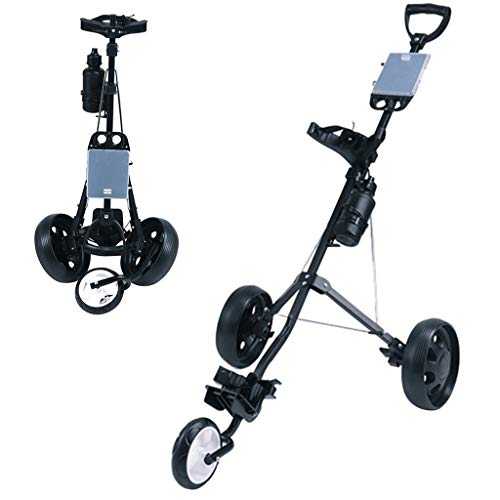 3 Wheel Golf Push Cart, Golf Trolley One Second to Open and Close, Collapsible Golf Trolley, Lightweight Golf Cart with Scorecard Drink Holder