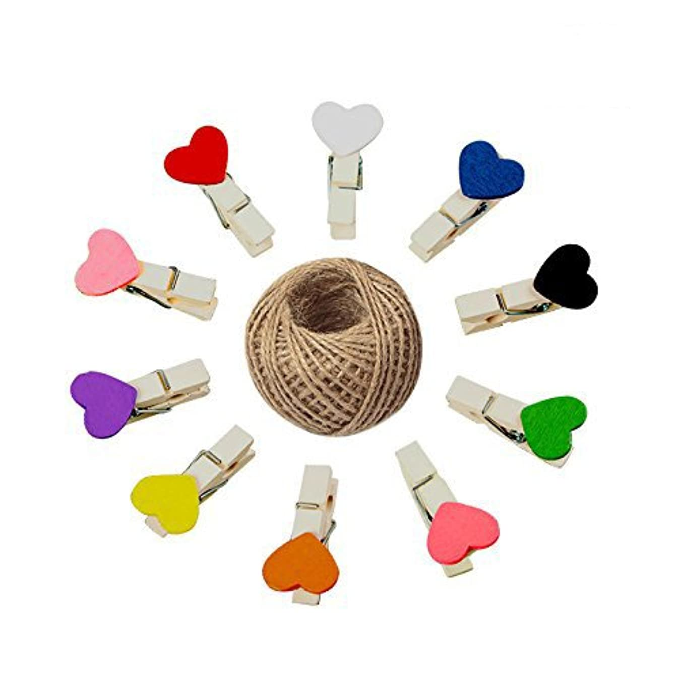 KINGLAKE 100 Pcs Mini Colored Wooden Heart Clothespins 3.5cm Photo Craft Clips for Wedding Party Decor with 100 Feet Jute Twine