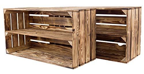 Kontorei® 2er Set großes geflammte/verbrannte Schuhregal68x40x30cm Regal Obstkiste Ablage Wandregal Holzkiste