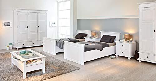 Inter Link Landhausbett Einzelbett Kinderbett 90x200 FSC Kiefer Massivholz Weiss lackiert
