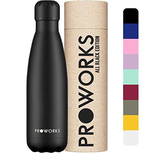 Proworks Botellas de Agua Deportiva de Acero Inoxidable | Cantimplora Termo con Doble Aislamiento para 12 Horas de Bebida Caliente y 24 Horas de Bebida Fría - Libre de BPA - 1L - Todo Negro