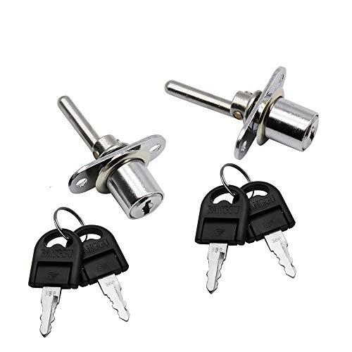 JUN-H 2 Stück Schublade Schloss mit Schlüssel Plunger-Schloss mit Schlüssel für Aktenschränke Kleiderschrank Vitrinenschrank Möbel, Durchmesser 16 mm, Länge 61 mm(Silber)