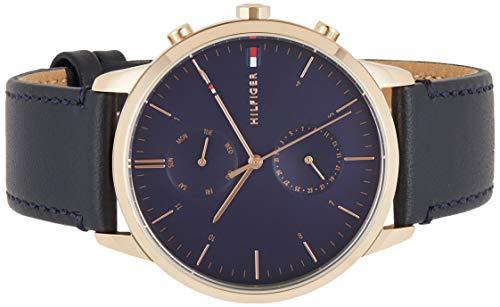 Tommy Hilfiger Herren Analog Quarz Armbanduhr mit Lederarmband 1710405