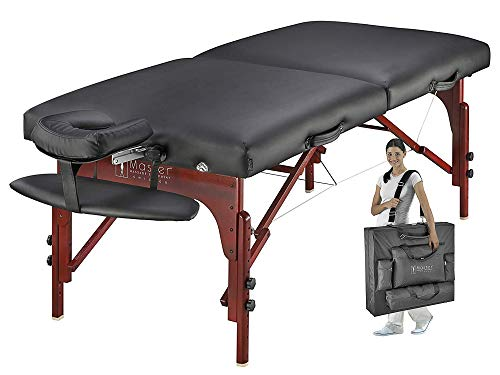Master Massage Montclair Massage Table Portable Professional, Folding Extra Wide Massage Therapy Spa Bed with PU Leather for Massage Therapist, Facialist, Carrying Case, Face Cradle - 31 Inch-Black