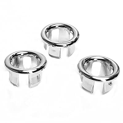 3x Bathroom Kitchen Sink Hole Round Overflow Cover Basin Tidy Insert Spares