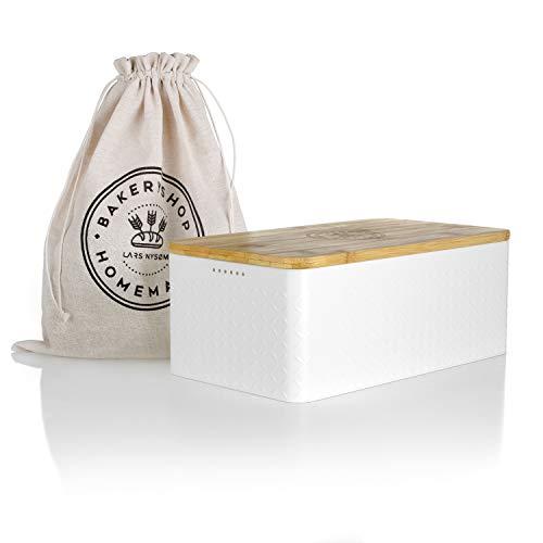 LARS NYSØM Brotkasten I Brotbox aus Metall mit Brotsack aus Leinen für langanhaltende Frische I Brotdose mit hochwertigem Bambusdeckel verwendbar als Schneidebrett I 34x18.5x13.5cm (Weiß)