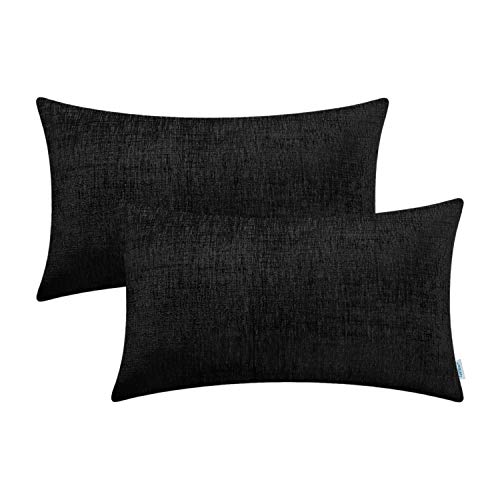 CaliTime Cushion Covers 2 Pack 30cm x 50cm Black Solid Dyed Soft Chenille Throw Pillow Cases