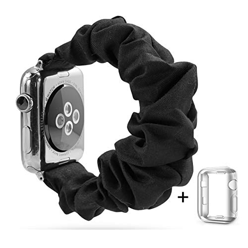 Scrunchie Elastic Wrist Bracelet Compatible for Apple Watch Band 38mm/40mm, Fancy Elastic Hair Wristbands Replacement for iWatch Series 5/4/3/2/1 Women Girls (Black with Series 5/4 Clear Case, 38mm/40mm)