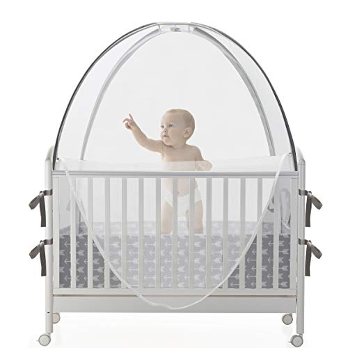ACRABROSSafetyBabyCribTentBedCanopyProtect Baby from Falls and Mosquito Bite Stable Frame Semiatuo Lock ZipperSee Through Mesh Crib Net CoverUnisex Grey Arrow Pattern