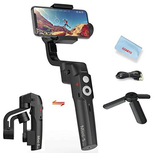 Moza Mini S Pieghevole 3-Asse Gimbal Stabilizzatore per Smartphone iPhone X 8 7 Plus Samsung S8 Huawei P10,260g di carico utile,Controllo One Focus/Zoom,Hyper-Lapse,Rallentatore,inizio,vertigine