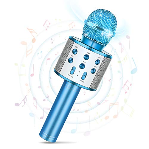 Tesoyzii Microfono Karaoke, Idee Regalo Bambina 7 5 6 8 9 10 4 Anni Giocattoli Bambina 4-14 Anni Microfono Bambini Regali Ragazza 9-14 Anni Karaoke Giochi Bambina 4 5 6 7 8 9 10 11 12 Anni Femmina
