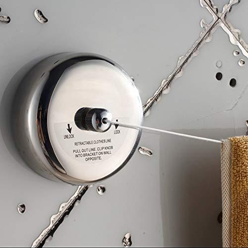 Líneas de Lavado Tendedero telescópico montado en la pared de secado retráctil cuerda de tender la ropa del carrete de acero inoxidable línea de ropa for Hotel Uso Cuerdas para Tender La Ropa