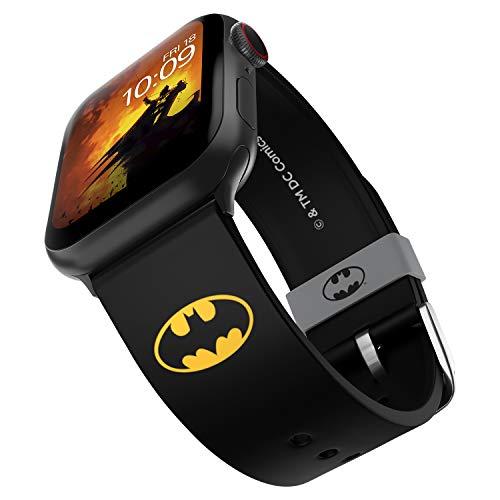 DC Comics Batman Icon Edition Bracelet de montre en silicone compatible avec Apple Watch 38 mm, 40 mm, 42 mm et 44 mm
