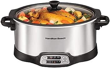 Hamilton Beach Programmable Slow Cooker, Stovetop Sear & Cook, 6 Quarts, Silver (33662)