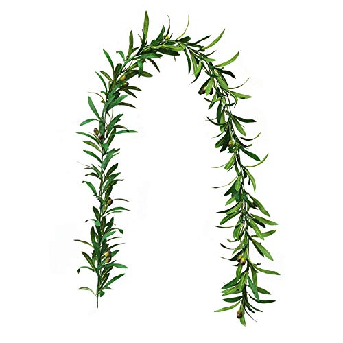 LAMF 6ft Artificial Olive Leaf Garland, Faux Olive Branch Garland with Olives for Wedding Events Decoration Greenery Wedding Backdrop Arch Wall Decor