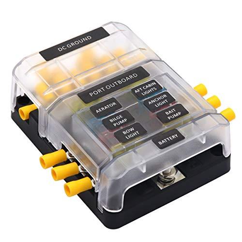 Sicherungshalter mit Minuspol KFZ Sicherungskasten für Boot Marine Auto Wohnmobil Solaranlage normalen Sicherung