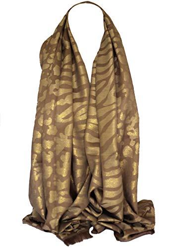 Zweiseitige Reversible Schimmer Tiger & Leopard Animal Print Wrap Schal Stola Schal (Mokka)