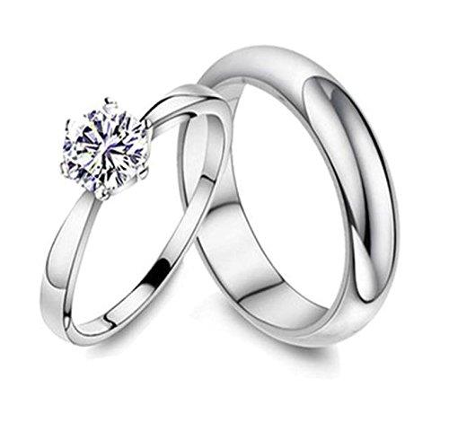 Bishilin 2Pcs Silberringe für Ihn und Sie Paarepreis Brillant Kristall Breite 5/7MM Eherring Verlobungsringe Paar Silber Demen Gr.54 (17.2)&Herren Gr.62 (19.7)