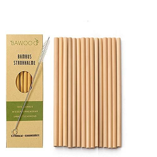 15er-Pack Strohhalme aus 100% Bambus inklusive Reinigungsbürste | Wiederverwendbare & umweltfreundliche Trinkhalme | 100% biologisch abbaubar, qualitativ und Spülmaschinenfest