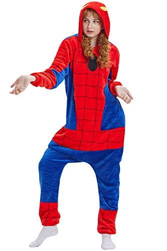 YAOMEI Adulte Kigurumi Combinaison Pyjama Onesies, 2020 Femme Homme Fleece 3D Anime Onesis Capuche Cosplay Halloween Noël Fête Costume Soirée de Déguisement Vêtement de Nuit (Spiderman, XL)