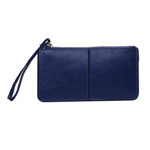 OULINBEIN Damen Und Mädchen saphirblau Leder Geldbörse Portemonnaie geldbeutel brieftasche