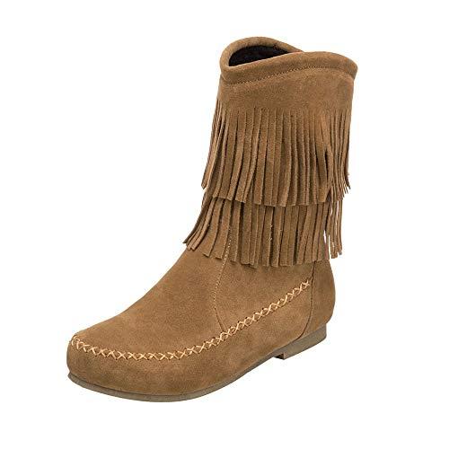 SUCES Damen Schneestiefel Winter Damenmode Stiefeletten Beiläufige Frauen Stiefel Quaste Lace-up Warme Schneeschuhe Retro Flache Boot (Braun,40)