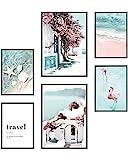 Heimlich Cuadros Decorativos - SIN Marcos -Decoración Colgante para Paredes de Sala, Dormitorios y Cocina - Arte Mural - 2 x A3 & 4 x A4-30x42 & 21x30 | » Beach Pink Flamingo «