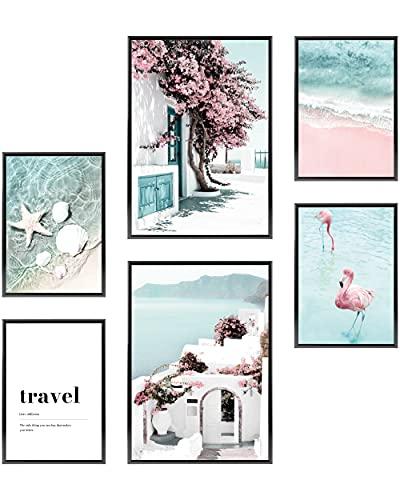 Heimlich® Premium Poster Set OHNE Bilderrahmen | Stilvolles Set mit passenden Bilder als Wohnzimmer Deko | 2 x DIN A3 & 4 x DIN A4 - ca. 30x42 & 21x30 | » Strand Pink Flamingo «