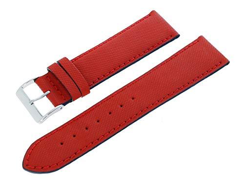 Morellato A01X4337797819CR22 - Cinturino per orologio in vera pelle con fibbia ad ardiglione in acciaio INOX, 22 mm, colore: Rosso