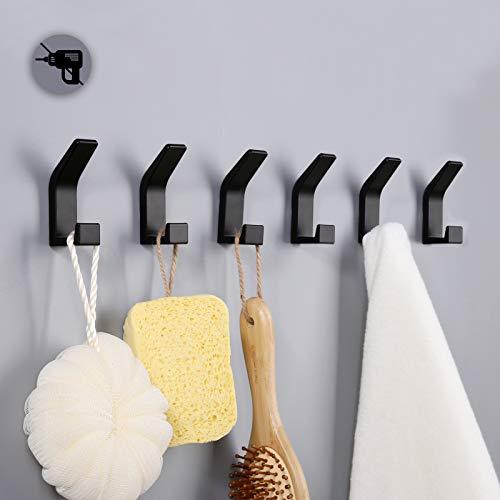 6 ganchos adhesivos de pared, ganchos para colgar sin taladrar, gancho para toallas de puerta, perchas adhesivas para baño, dormitorio, cocina, aluminio, negro
