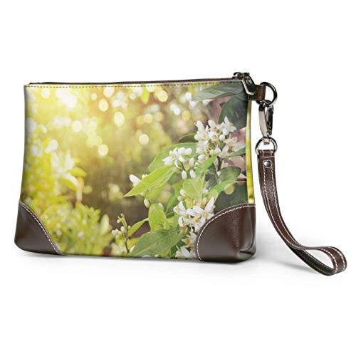 XCNGG Weiche wasserdichte große Kupplung Brieftasche Blumen eines Zitronenbaums zwischen Blättern Wristlet Brieftasche Fall mit Reißverschluss für Frauen Mädchen